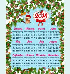 calendar template with christmas wreath frame vector image