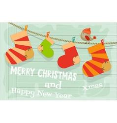 Card with christmas socks vector