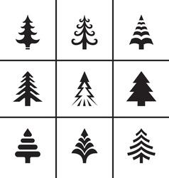 Christmas fir tree icons set vector image vector image