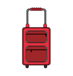 Color image cartoon travel suitcase with handle vector