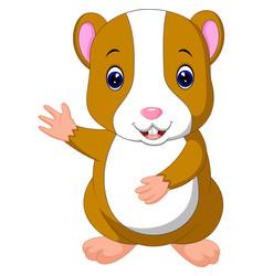 Cute hamster waving hand vector