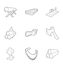 Deforestation icons set outline style vector