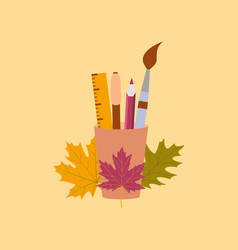 flat icon on stylish background pencils pens ruler vector image
