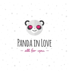 Funny cartoon panda head logo flat vector