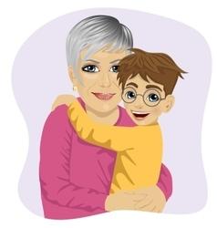 Grandmother hugging her cute grandson vector image