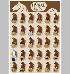 Horse emoji icons vector