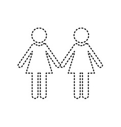 Lesbian family sign black dashed icon on vector