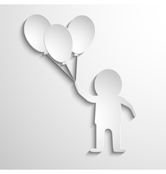 man with balloons in hands White paper vector image vector image