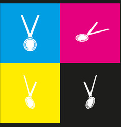 Medal simple sign white icon with vector