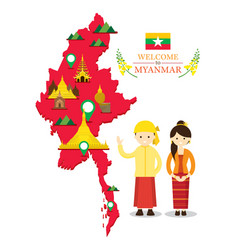 myanmar map and landmarks with people in vector image