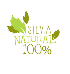 Natural stevia logo symbol healthy product label vector