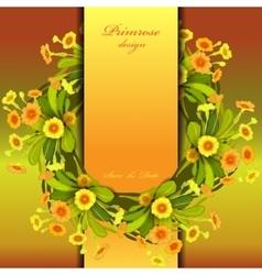 Orange yellow primroses wreath vector