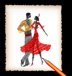 Pencil and the image of flamenco dancers vector