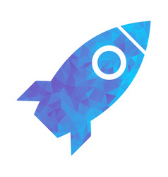 polygon blue icon rocket vector image vector image