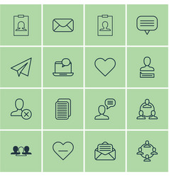 Set of 16 social icons includes chatting person vector