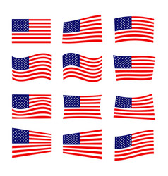 set of america flag vector image vector image