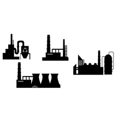 set of industry icon silhouettes vector image