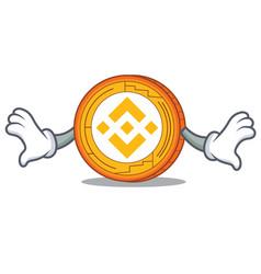 Shock binance coin mascot catoon vector