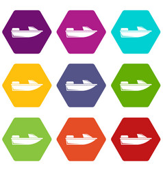 Sports powerboat icon set color hexahedron vector