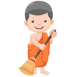 young monk cartoon vector image vector image