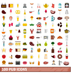 100 pub icons set flat style vector