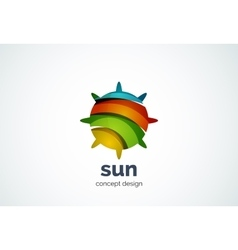 Sun logo template shining star concept vector