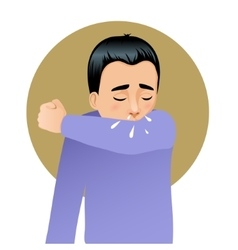 Boy sneezing in elbow image vector