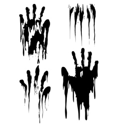 Black handprint set isolated on white vector image
