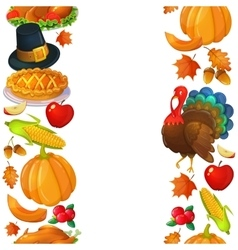 Vertical seamless borders with thanksgiving icons vector