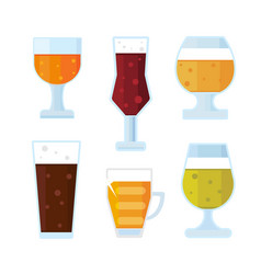 Beer icons set bottle glass and la vector