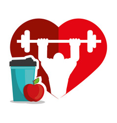 bodybuilder fitness heart juice apple silhouette vector image