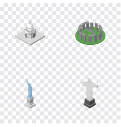 isometric attraction set of new york rio india vector image
