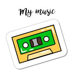 Fashion patch element retro cassette vector