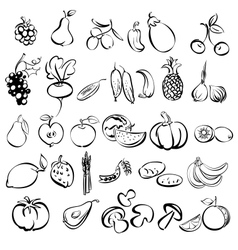 Fruits and vegetables icon set sketch vector