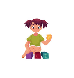 little girl playing with toy alphabet abc blocks vector image