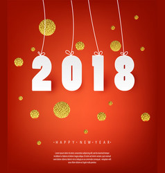 2018 happy new year red background with golden vector image vector image