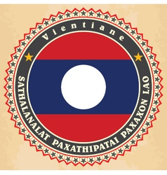 Vintage label cards of laos flag vector