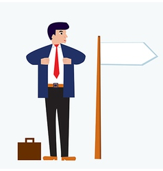 Businessman cartoon with banner vector