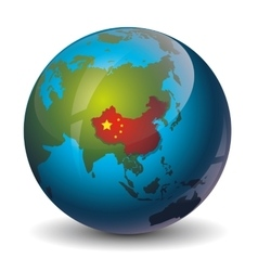 China on globe vector