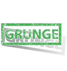 Green outlined grunge stamp vector