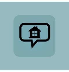 Pale blue house message icon vector