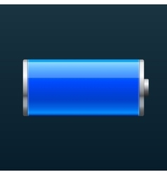Glossy blue battery icon on black background vector