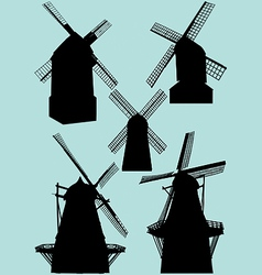 windmill silhouettes vector image