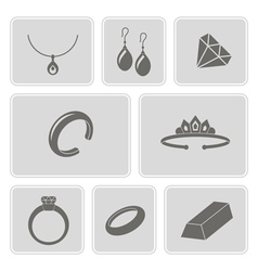 Monochrome set with jewelry icons vector