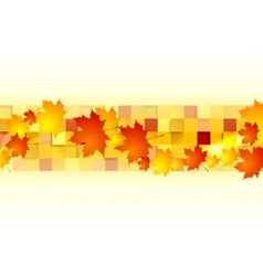 Red orange maple leaves on geometric squares vector