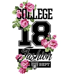 College fashion whit roses vector