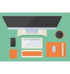 Modern flat office desktop vector
