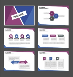 Blue and purple presentation templates set vector