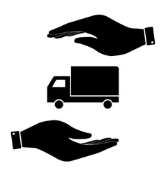 Truck in hand icon vector