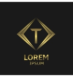 Golden T letter vector image